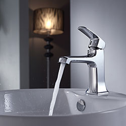 Kraus White Round Ceramic Sink and Decorum Basin Faucet Chrome