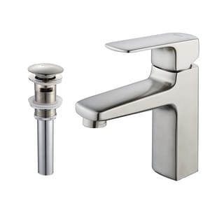 Kraus Virtus Single Lever Basin Faucet and Pop Up Drain with Overflow Brushed Nickel