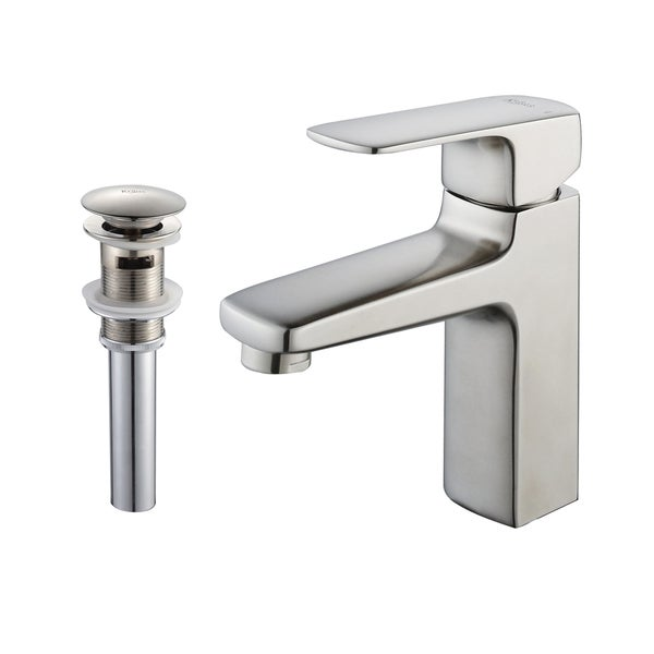 Kraus Virtus Single Lever Basin Faucet and Pop-up Drain with Overflow