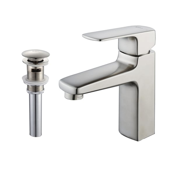 Kraus Virtus Single Lever Bas-inch Faucet/ Pop Up Drain withOverflow