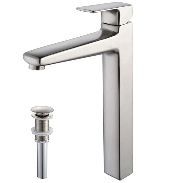Kraus Virtus Single Lever Vessel Faucet/ Pop Up Drain Brushed Nickel