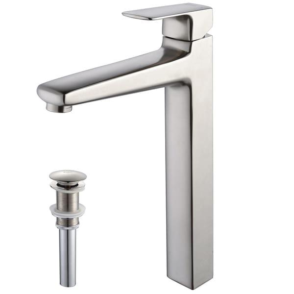 Kraus Virtus Single Lever Vessel Faucet/ Pop Up Drain Brushed Nickel