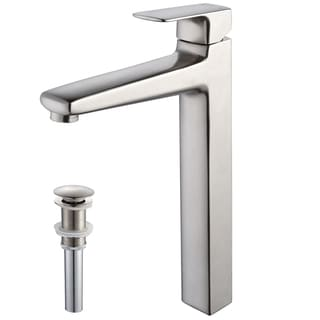 Kraus Virtus Single Lever Vessel Faucet with Pop Up Drain Brushed Nickel