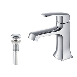 Kraus Decorum Single Lever Basin Faucet and Pop Up Drain with Overflow Chrome