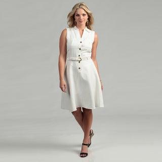 Tahari ASL Women's Ivory Sleeveless Shirt Dress