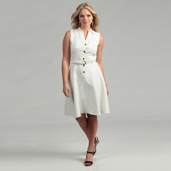 Tahari ASL Women's Ivory Sleeveless Shirt Dress