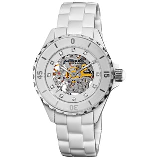 Akribos XXIV White Women's Midsize Ceramic Automatic Watch