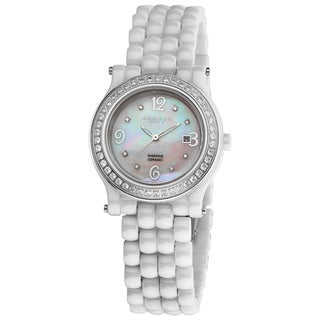 Akribos XXIV Women's Diamond White Ceramic Bracelet Watch