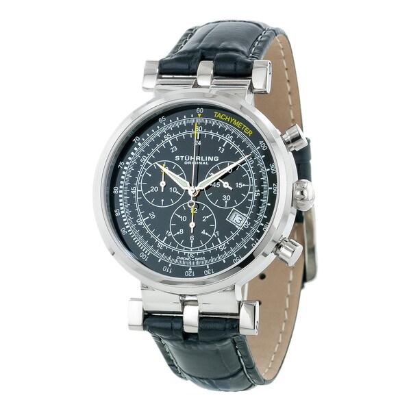 Stuhrling Original Men's Trackmaster Quartz Chronograph Watch with Black Dial