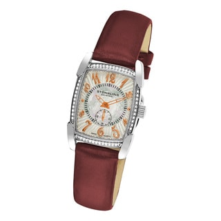 Stuhrling Original Women's Carnegie Rose Swiss Quartz Watch with Leather Strap