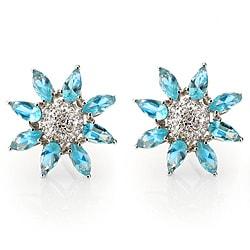 Collette Z Sterling Silver Blue Cubic Zirconia Flower Earrings