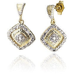 Collette Z Sterling Silver Two-Tone Cubic Zirconia Square Earrings