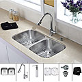 Kraus 32 inch Undermount Double Bowl Stainless Steel Kitchen Sink with Chrome Kitchen Faucet and Soap Dispenser