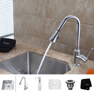 Kraus 23 inch Undermount Single Bowl Stainless Steel Kitchen Sink with Chrome Kitchen Faucet and Soap Dispenser