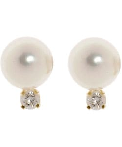 Miadora 14k Diamond 7.5-8 mm Cultured  Pearl Earrings