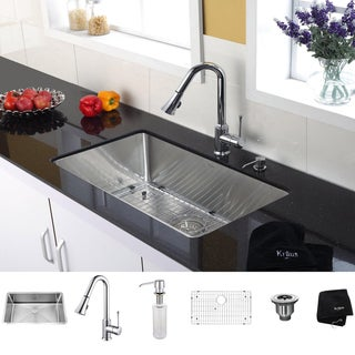 Kraus 30 inch Undermount Single Bowl Stainless Steel Kitchen Sink with Chrome Kitchen Faucet and Soap Dispenser
