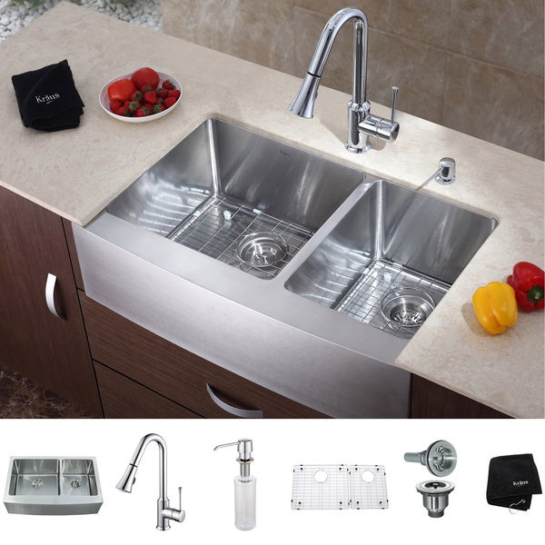 Kraus 36 inch Farmhouse Double Bowl Stainless Steel Kitchen Sink with Chrome Kitchen Faucet and Soap Dispenser