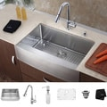 Kraus 36 inch Farmhouse Single Bowl Stainless Steel Kitchen Sink with Chrome Kitchen Faucet and Soap Dispenser