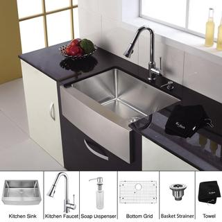 Kraus 33 inch Farmhouse Single Bowl Stainless Steel Kitchen Sink with Chrome Kitchen Faucet and Soap Dispenser