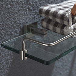 Kraus Aura Bathroom Accessory - Shelf with Railing Brushed Nickel