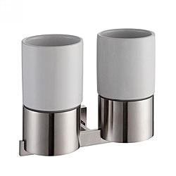 Kraus Aura Brushed Nickel Wall-mounted Double Ceramic Tumbler Holder