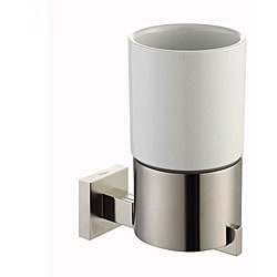 Kraus Aura Bathroom Accessory Ceramic Tumbler Holder Brushed Nickel