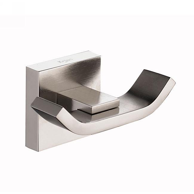 Kraus Aura Bathroom Accessory - Double Hook Brushed Nickel