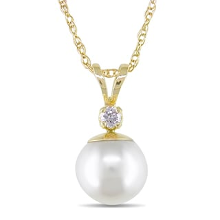 Miadora 14-kt. Diamond 7.5-8 mm Cultured Pearl Pendant