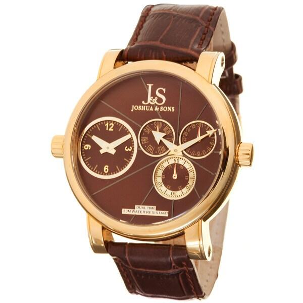 Joshua & Sons Men's Dual-time Brown Circle Watch