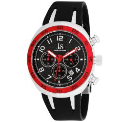 Joshua & Sons Men's Red/ Black Chronograph Carbon Fiber Strap Watch