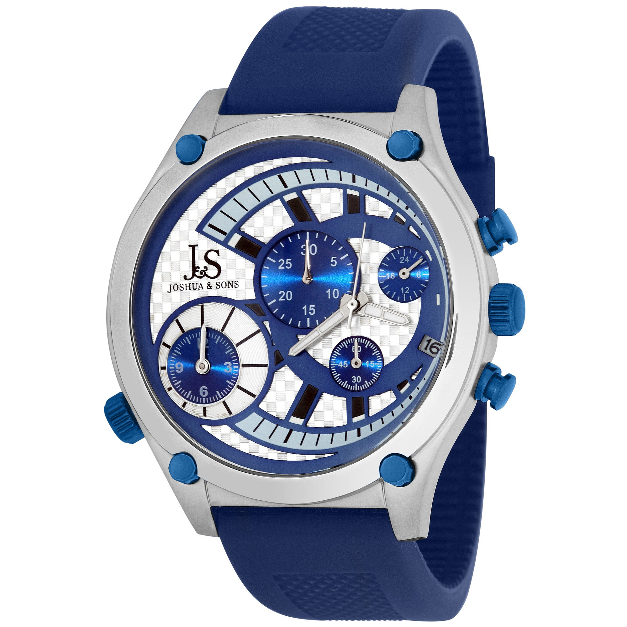 Blue Joshua & Sons Men's Dual Time Quartz Chronograph Steel Strap Watch