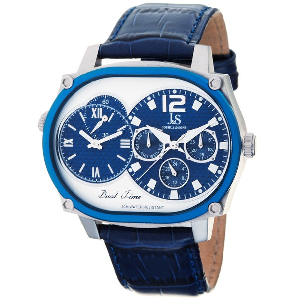 Joshua & Sons Men's Dual-time Multi-function Blue Watch
