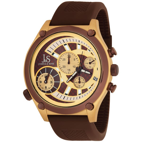 Brown Joshua & Sons Men's Dual Time Quartz Chronograph Steel Strap Watch