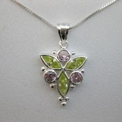 Sterling Silver Green and Pink Cubic Zirconia Necklace (Thailand)