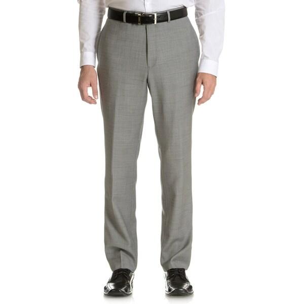 Tommy Hilfiger Men's Trim Fit Grey Sharkskin Wool Dress Pants