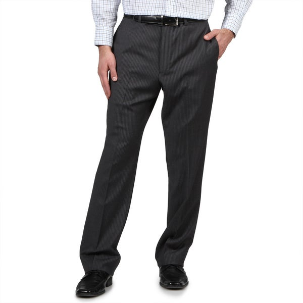 Tommy Hilfiger Men's Trim Fit Grey Slim Stripe Wool Dress Pants (As Is Item)