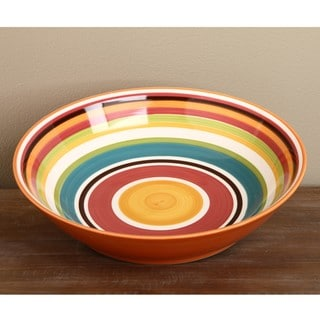 Omniware Rio Striped Ceramic Serving Bowl and Condiment Dish Set