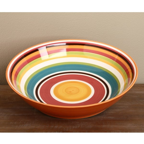 Omniware Rio Striped Ceramic Serving Bowl and Condiment Dish Set
