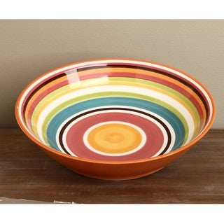 Omniware Rio Striped Ceramic 14-inch Serving Bowl