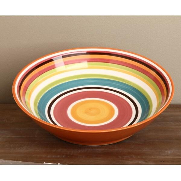 Omniware Rio Striped Ceramic 14-inch Serving Bowl