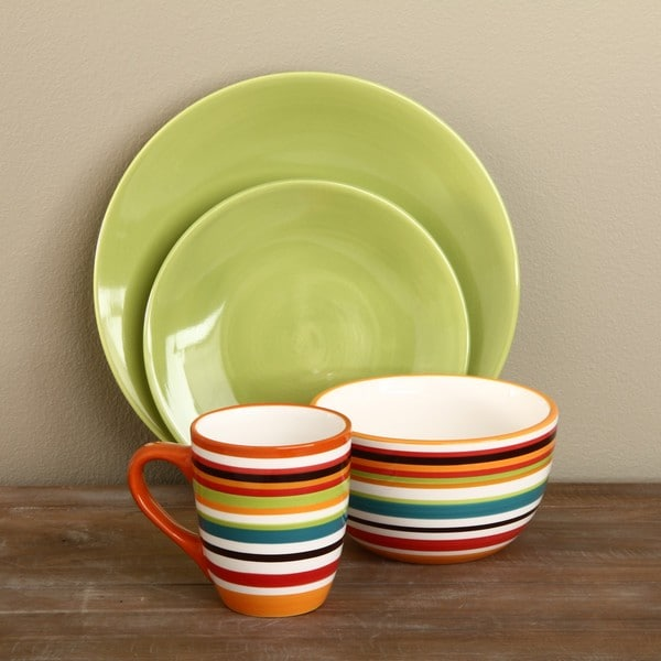 Omniware Rio Stripe and Citron 16-piece Dinnerware Set