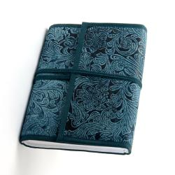 100-page Indigo-blue Engraved Cruelty-free Leather Journal (India)