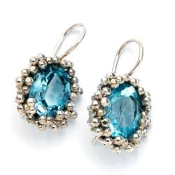 Blue Topaz Oval Sterling Silver Earrings (India)