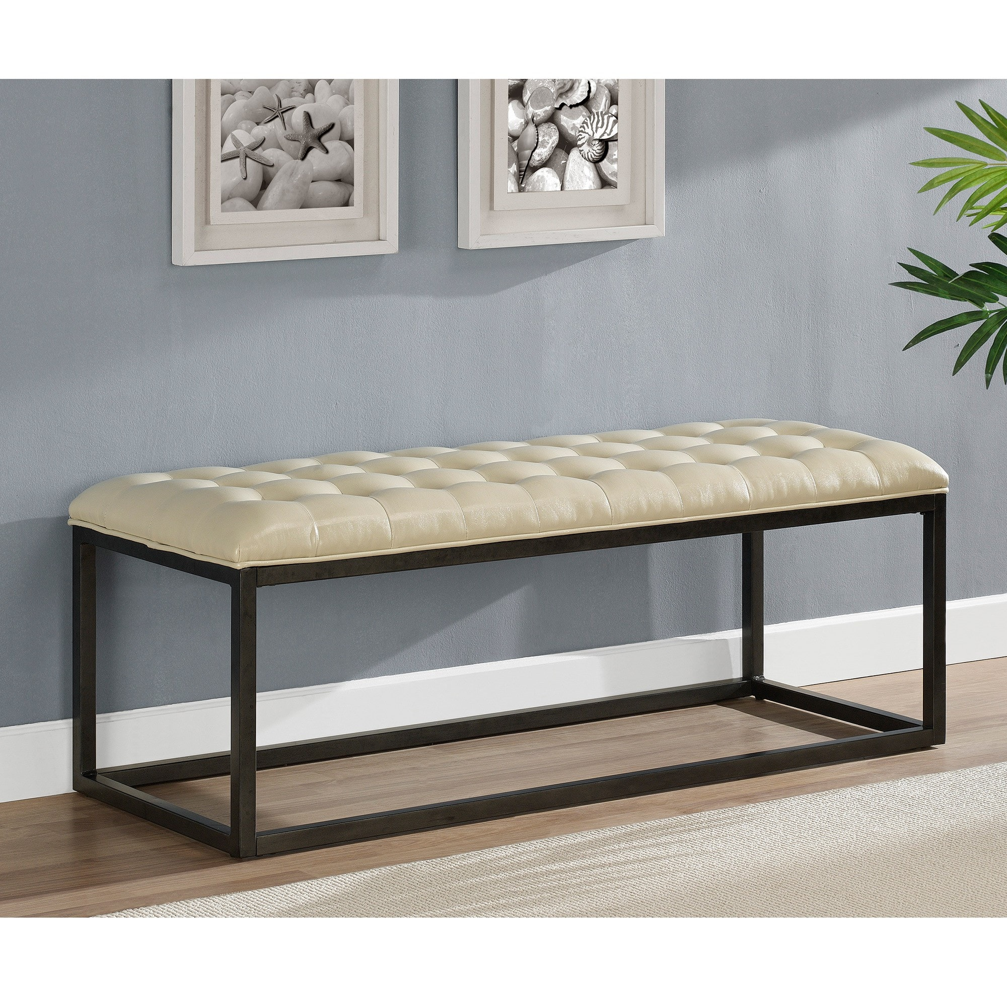 Healy Cream Bonded Leather Bench at Sears.com