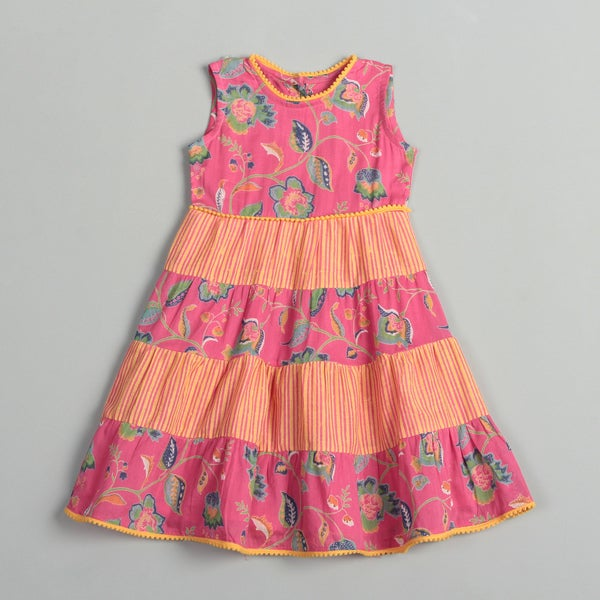 Girl's Pink/ Orange Patchwork Dress (India)