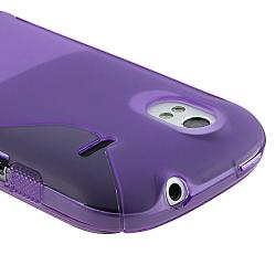 Frost Purple S Shape TPU Rubber Skin Case for HTC Amaze 4G