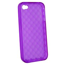 Clear Purple Diamond TPU Rubber Skin Case for Apple iPhone 4/ 4S