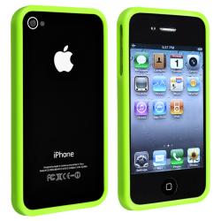 INSTEN Green Shiny Bumper TPU Rubber Skin Phone Case Cover for Apple iPhone 4/ 4S