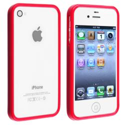 INSTEN Red Shiny Bumper TPU Rubber Skin Phone Case Cover for Apple iPhone 4/ 4S