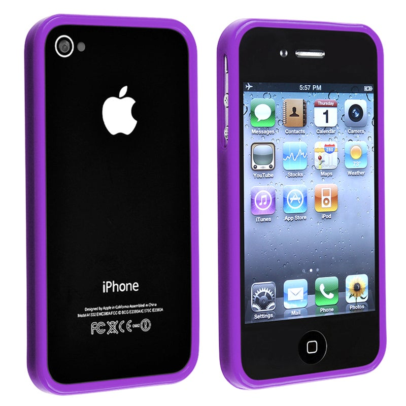 INSTEN Purple Shiny Bumper TPU Rubber Skin Phone Case Cover for Apple iPhone 4/ 4S